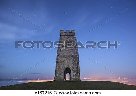Stock Photo of Glastonbury Tor at dawn, Somerset x16721613.
