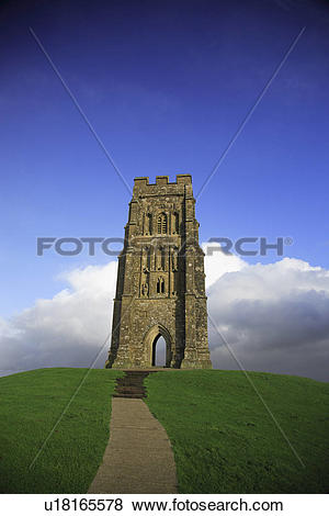 Pictures of England, Somerset, Glastonbury Tor, St Michael's Tower.