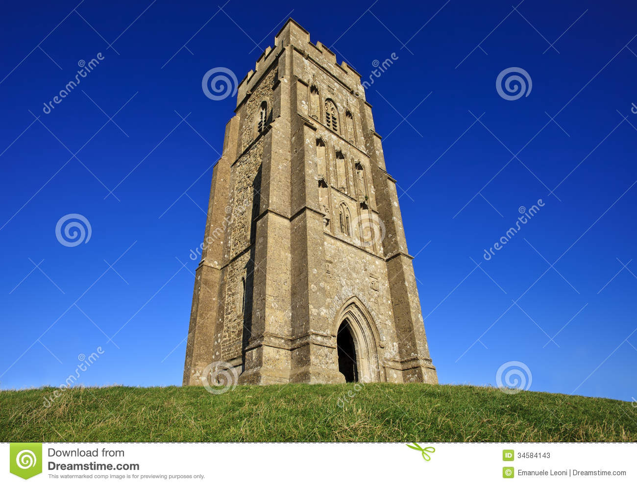 Glastonbury Tor Church Tower Stock Photography.