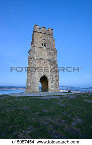 Stock Photo of England, Somerset, Glastonbury. St. Michael's Tower.