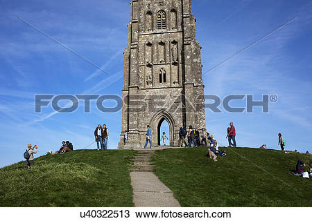 Stock Photo of England, Somerset, Glastonbury. St Michael's church.