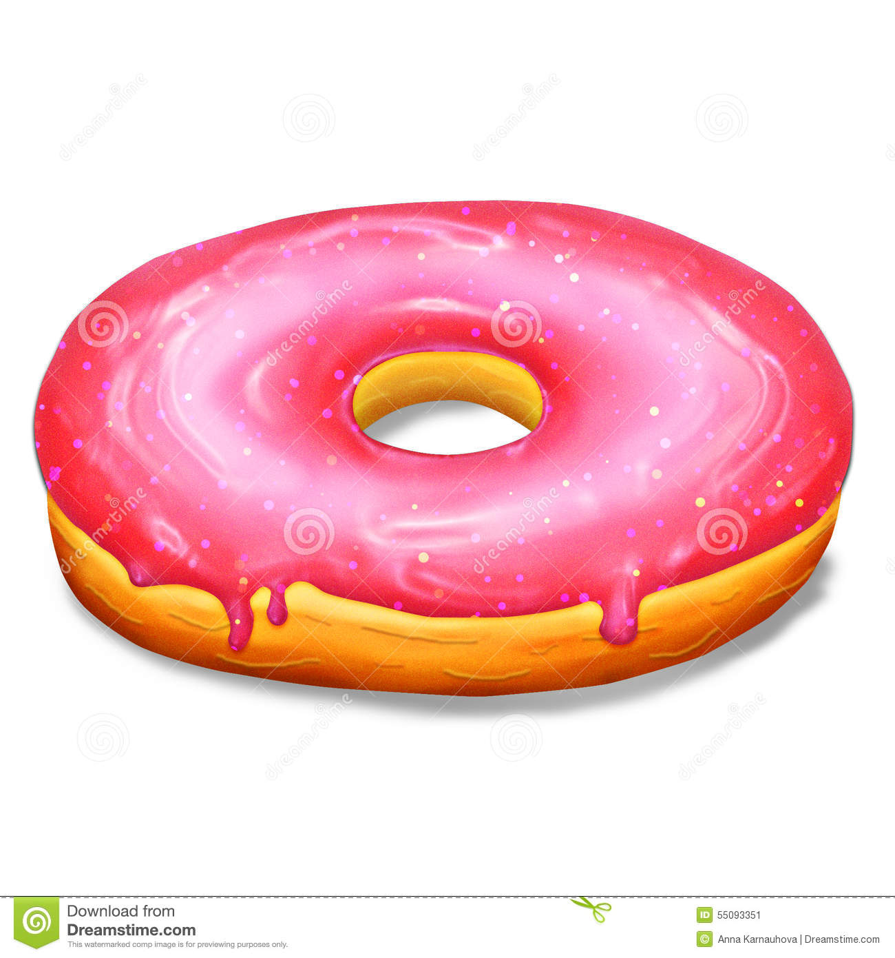 Donut With Pink Glaze Stock Illustration.