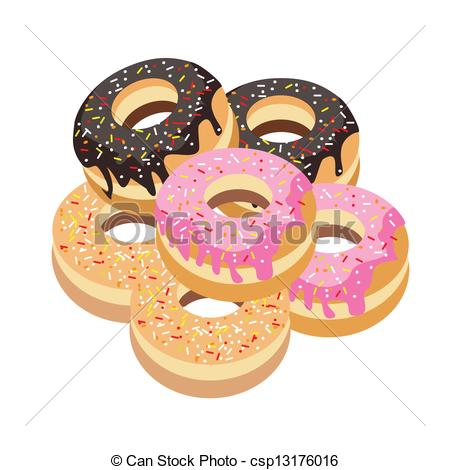 Vector Clip Art of Six Glazed Donuts Assortment on White.