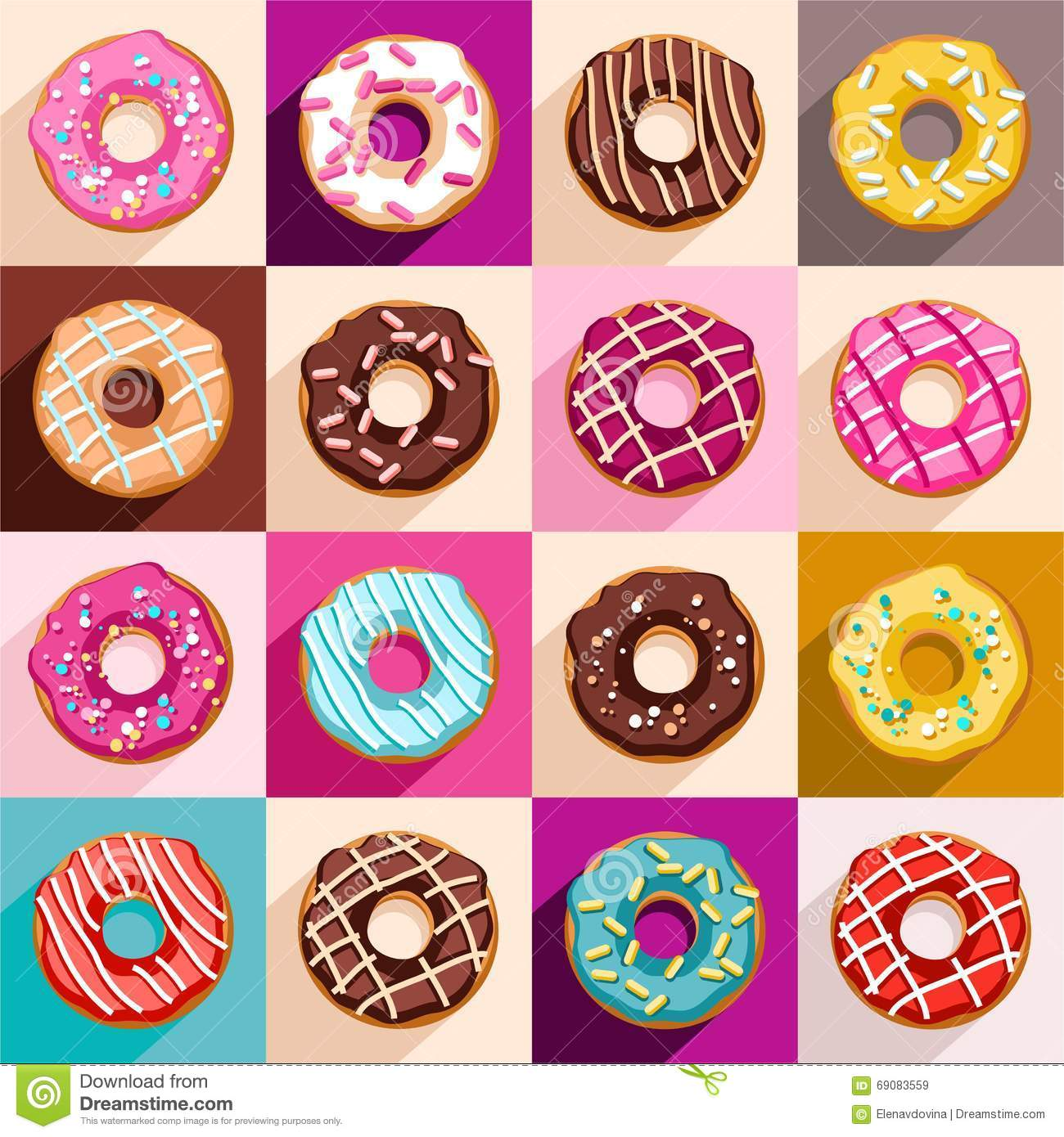 Donuts, Vector Clip Art. Stock Vector.