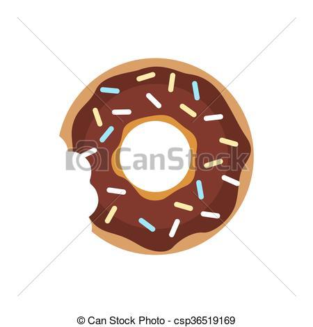 Clip Art Vector of Vector donut icon. Sugar donut illustration.