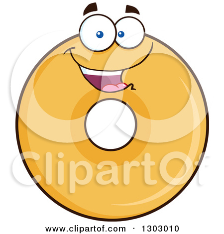 Clipart of a Cartoon Happy Round Glazed or Plain Donut Character.