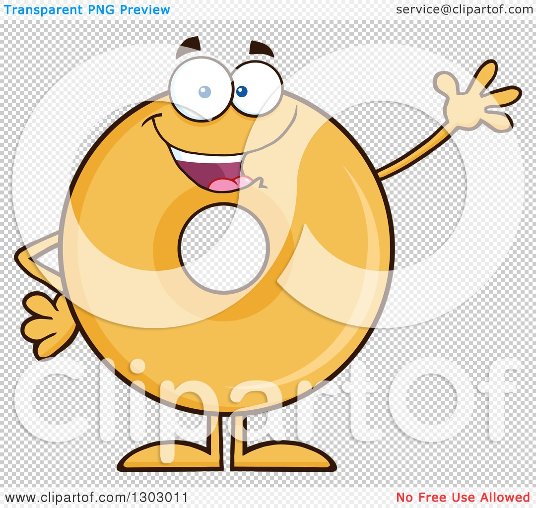 Clipart of a Cartoon Friendly Waving Round Glazed or Plain Donut.