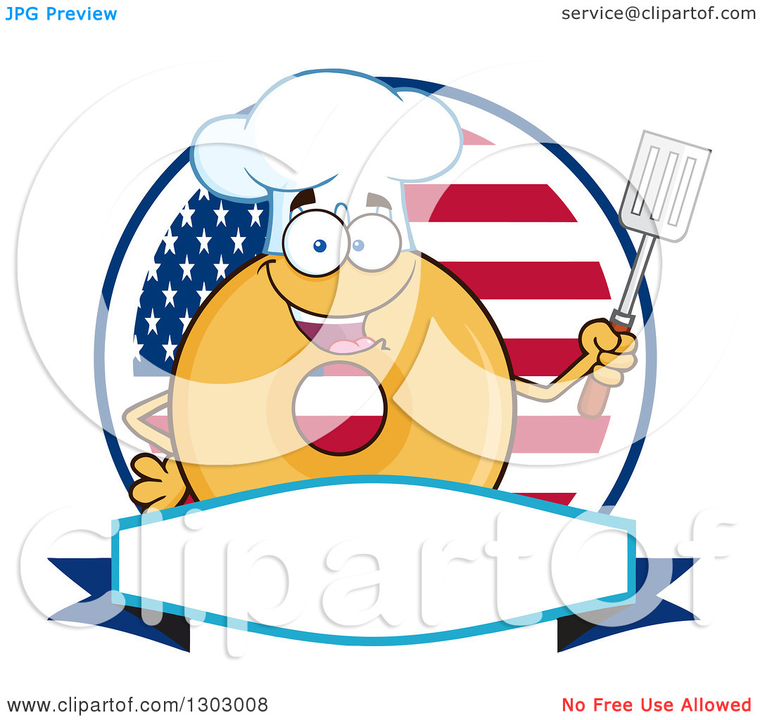 Clipart of a Cartoon Happy Glazed or Plain Chef Donut Character.