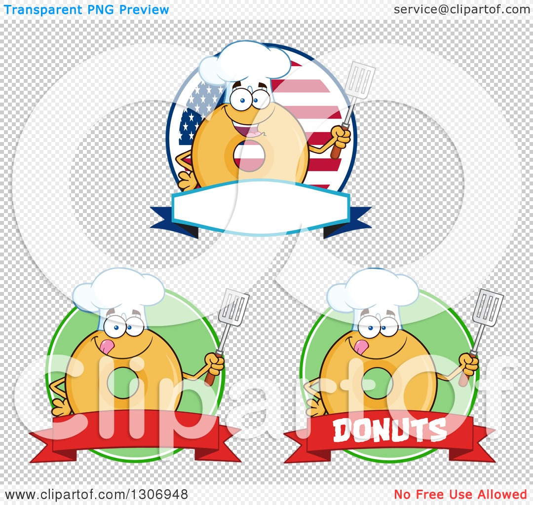 Clipart of Cartoon Labels of Round Glazed or Plain Chef Donut.