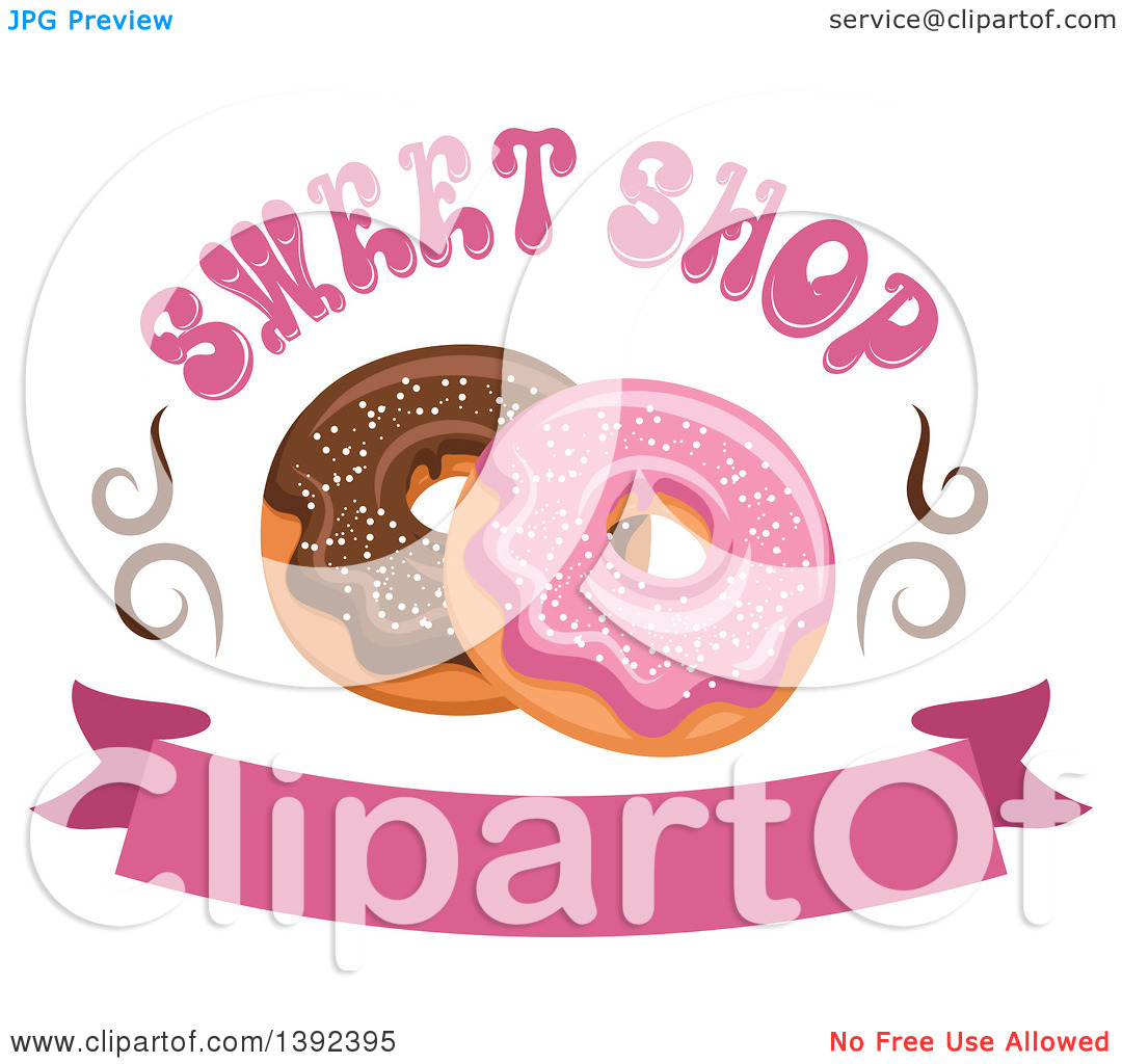 Clipart of Pink and Chocolate Glazed Donuts with Text over a.