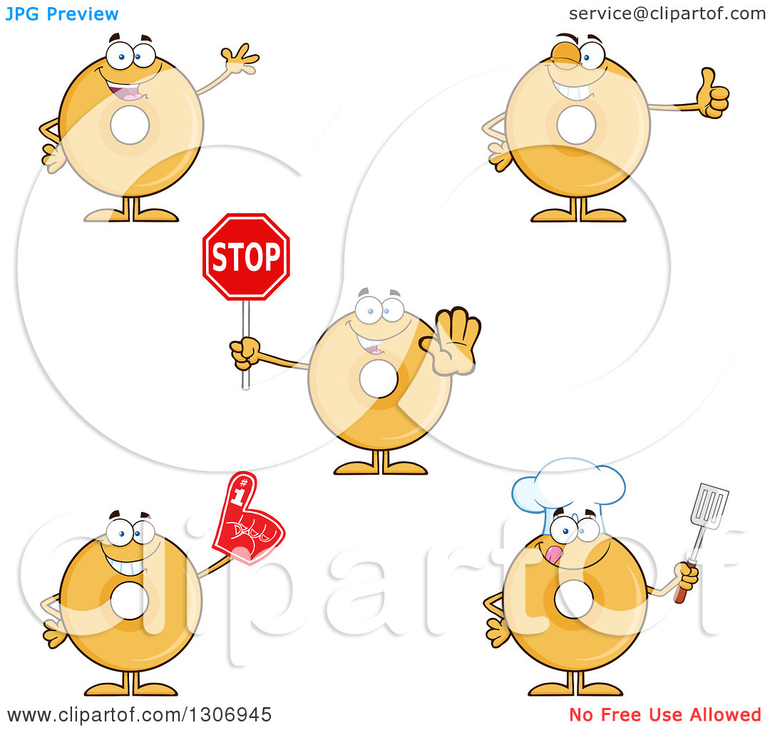 Clipart of Cartoon Happy Round Plain or Glazed Donut Characters.