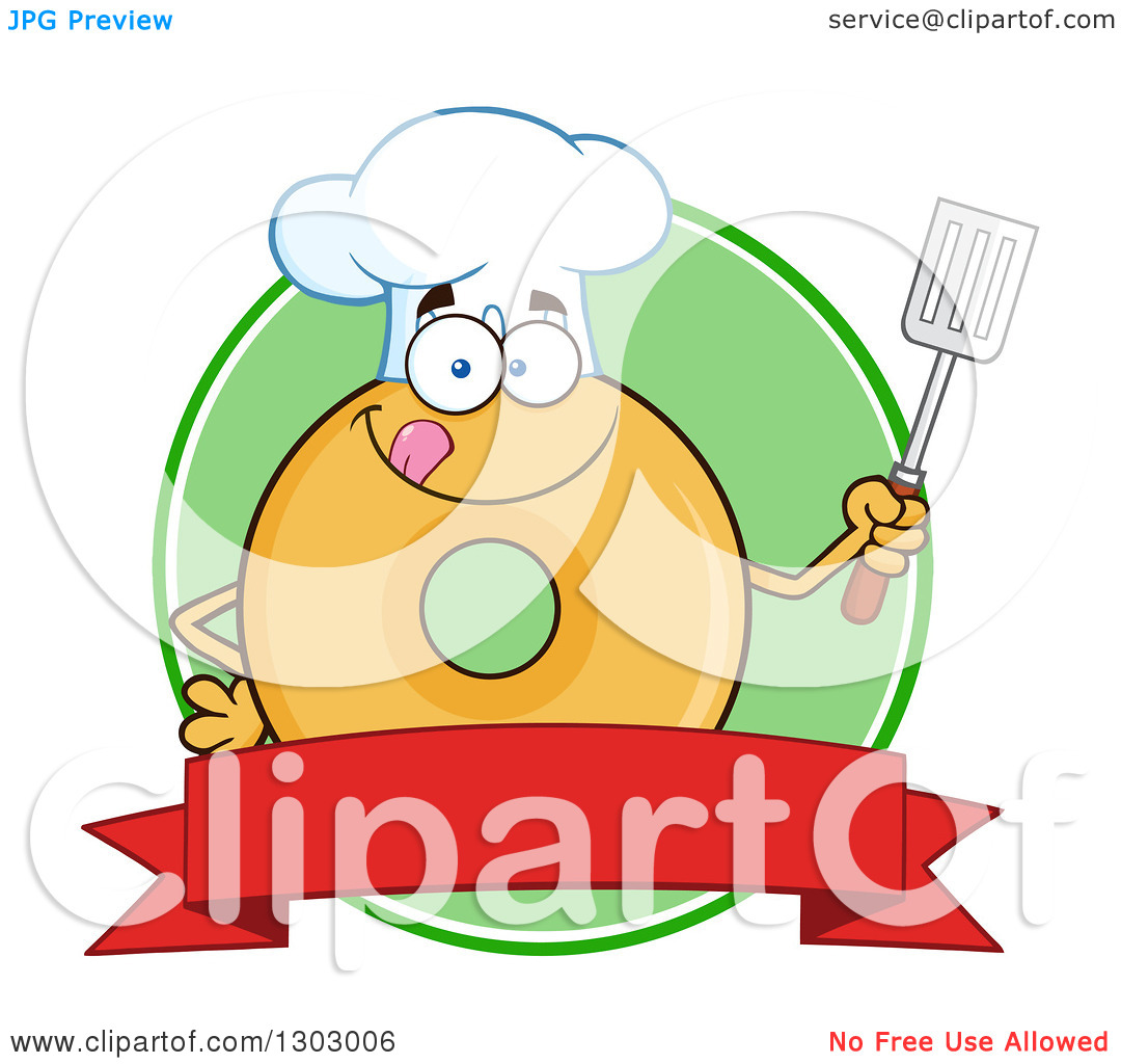 Clipart of a Cartoon Round Glazed or Plain Chef Donut Character.