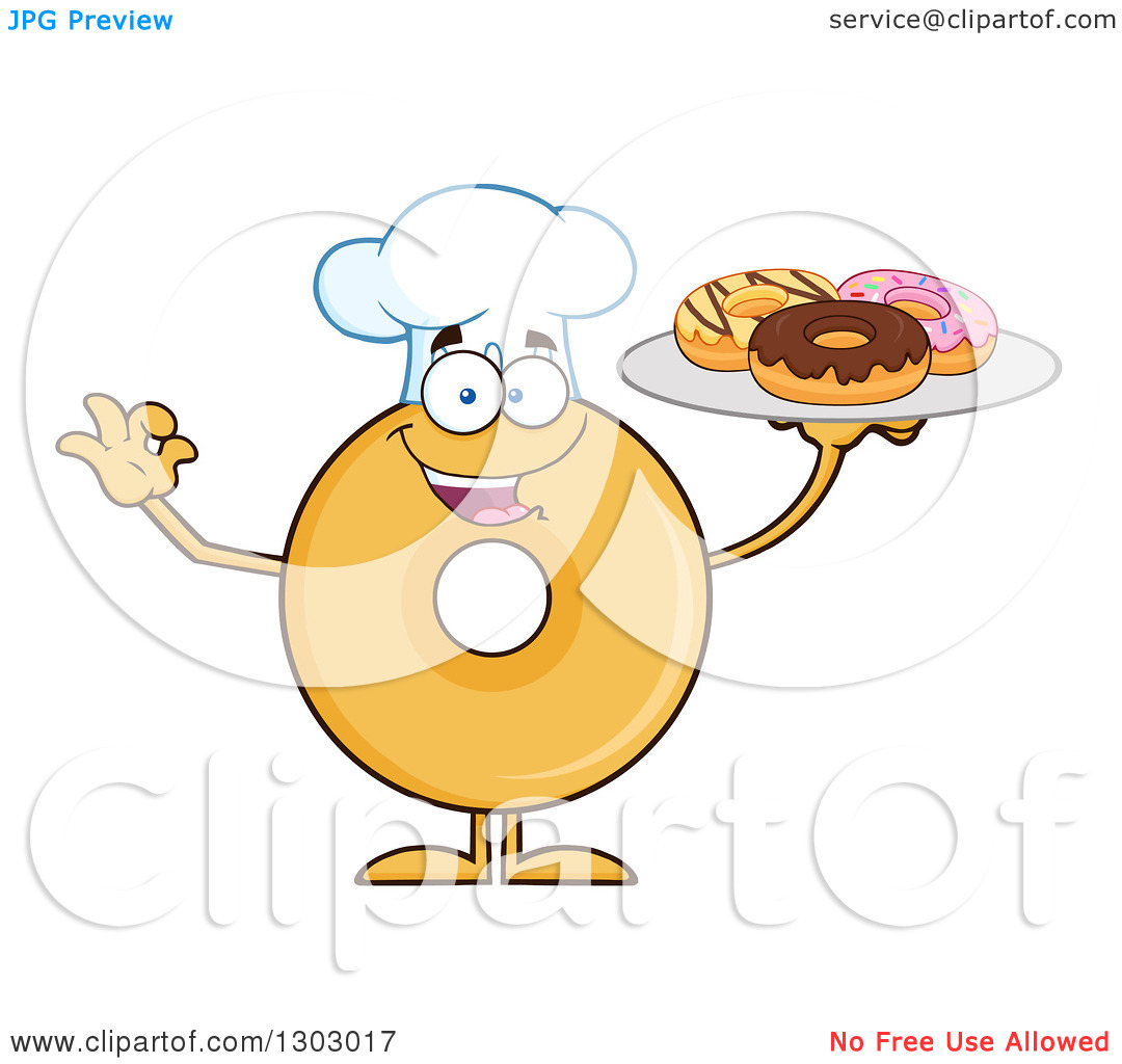 Clipart of a Cartoon Happy Round Glazed or Plain Chef Donut.