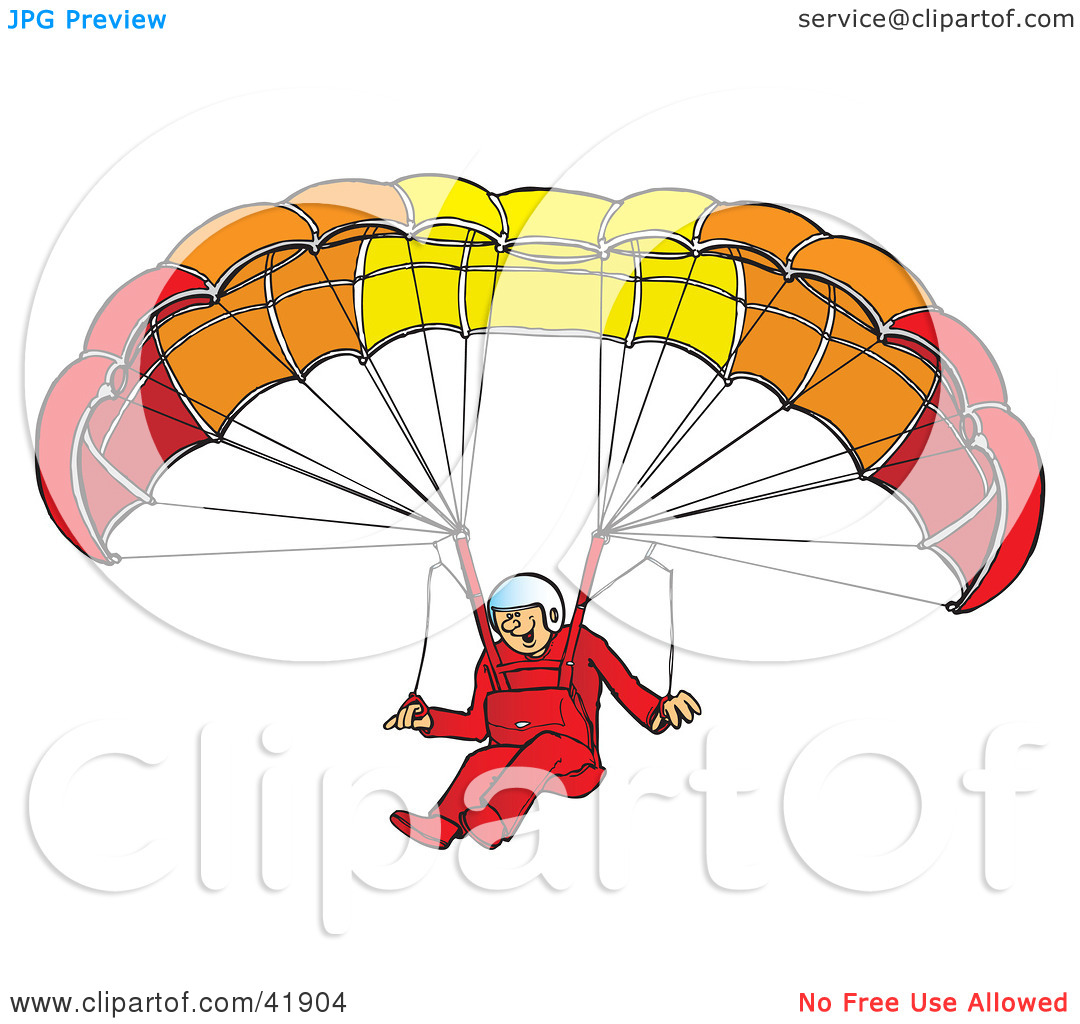 Clipart Illustration of a Happy Paraglider Descending And.