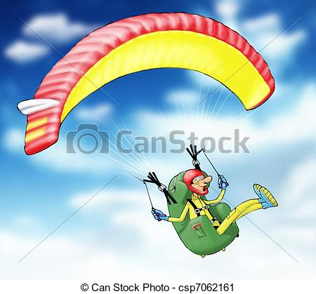 Clipart of paragliding.