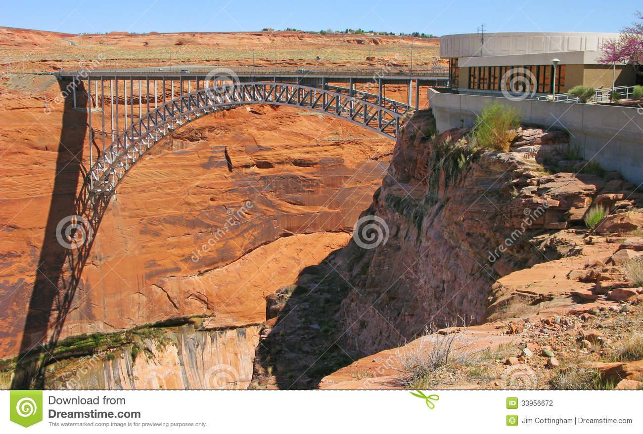 Glen Canyon Bridge & Visitor Center Stock Photography.