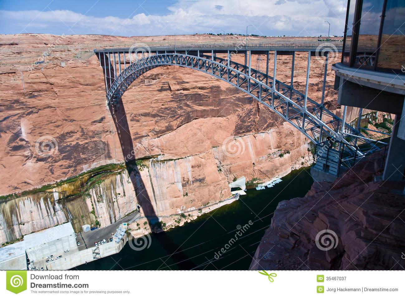 Bridge Spans The The Colorado At Glen Canyon Dam Royalty Free.