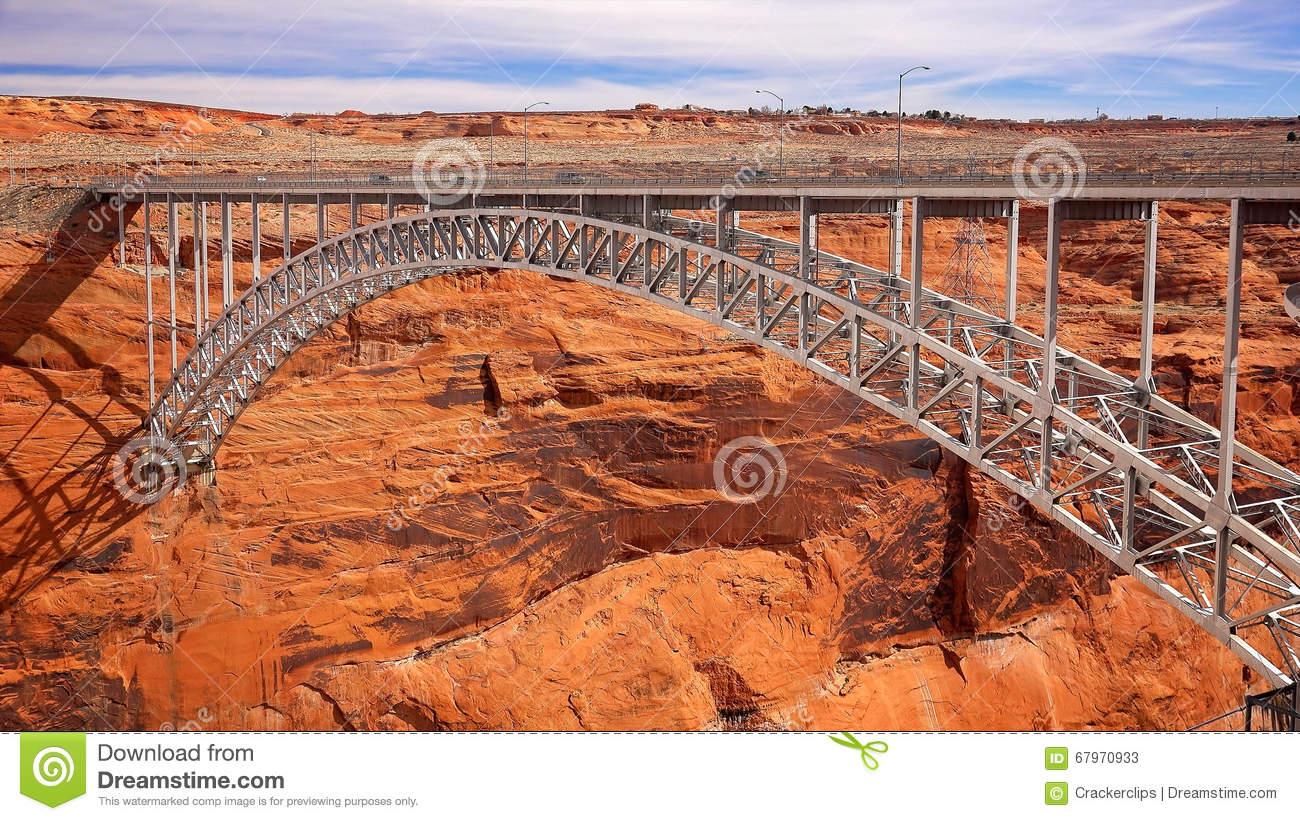 Glen Canyon Dam Arch Bridge Stock Photo.