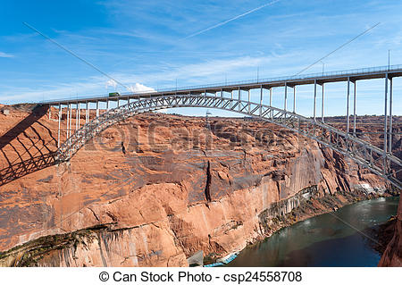 Stock Photography of Glen Canyon Dam Bridge over Colorado near.