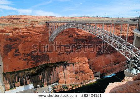 Glen Canyon Dam Bridge Stock Photos, Royalty.