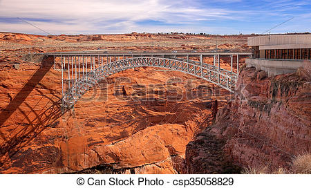 Stock Photo of Steel Arch Bridge and Visitor Center at Glen Canyon.