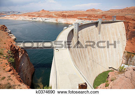 Stock Photography of Glen Canyon Dam k0374690.