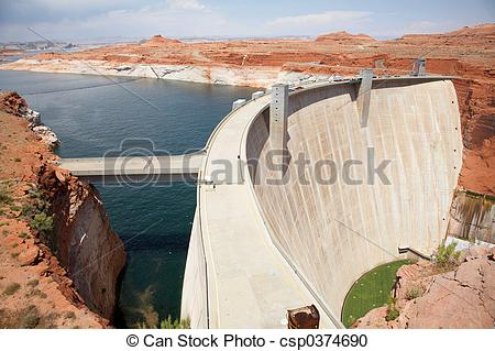 Stock Photography of Glen Canyon Dam and Low Water Levels.
