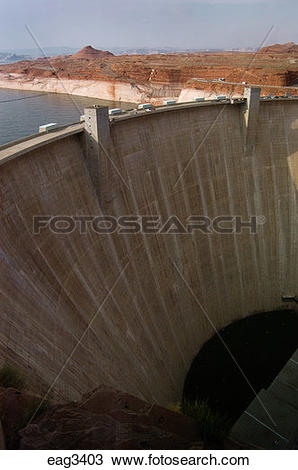 Stock Photo of GLEN CANYON DAM, completed in 1966, dammed the.