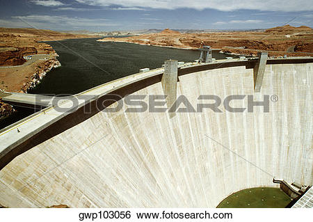 Stock Images of High angle view of a dam, Glen Canyon Dam, Arizona.