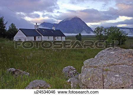Stock Images of Scotland, Highland, Glen Coe, Cottage and misty.