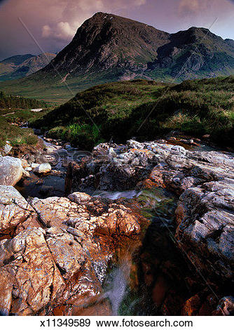 Stock Photograph of Stream in Glencoe, Scotland x11349589.