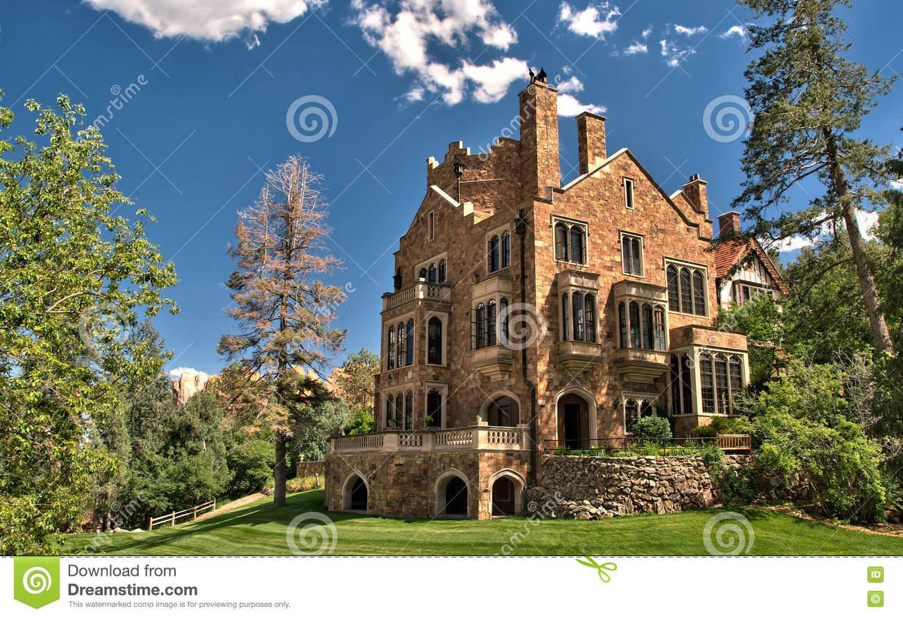 Glen Eyrie Castle In Colorado Springs, Colorado Stock Photo.