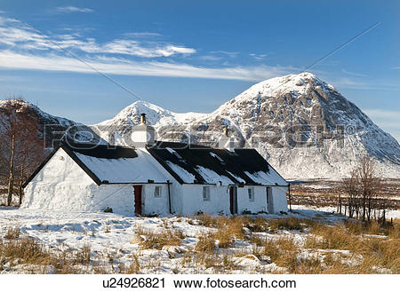 Stock Photography of Scotland, Highland, Glencoe, A snow covered.