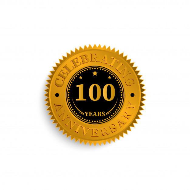 100 years anniversary badge logo with black and gold color.