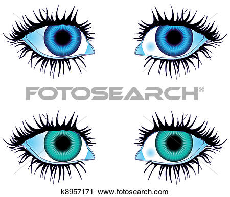 Clipart of Eyes Colored Blue k8957171.