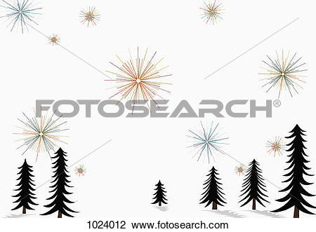 Clip Art of Stars glistening in the sky above pine trees and snow.