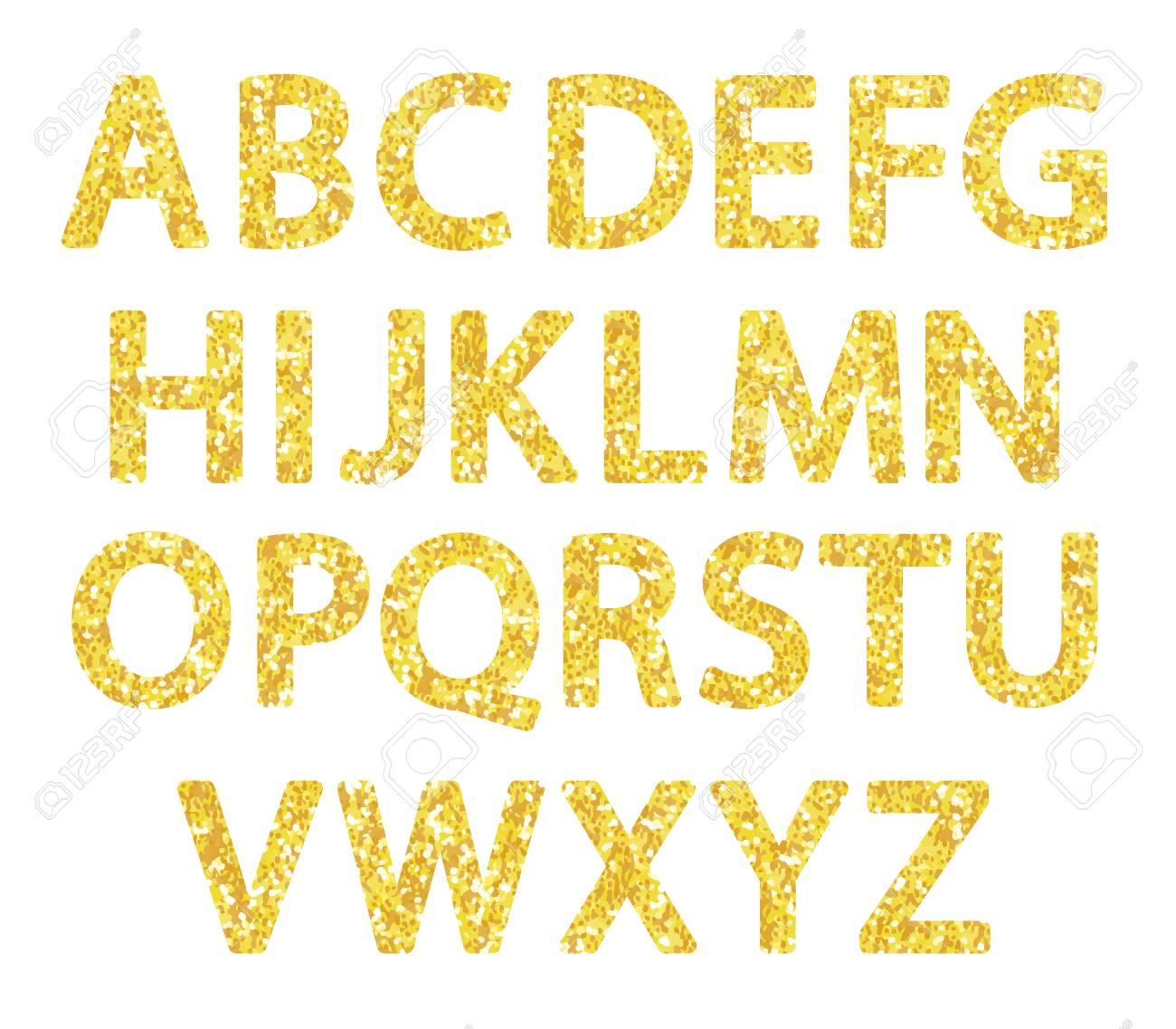 Luxury festive Golden glitter sparkling alphabet letters..