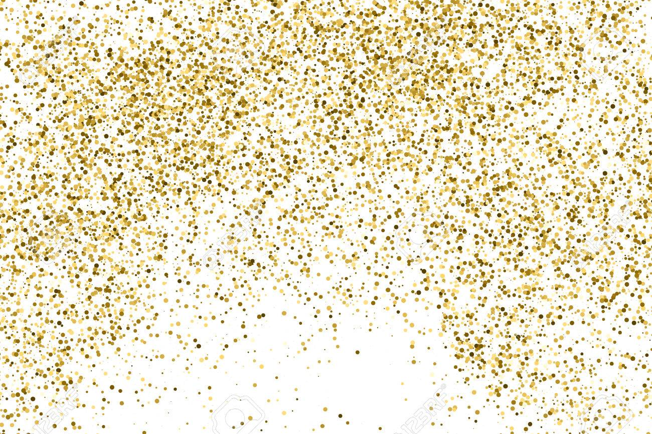 Gold glitter texture isolated on white. Amber color background.