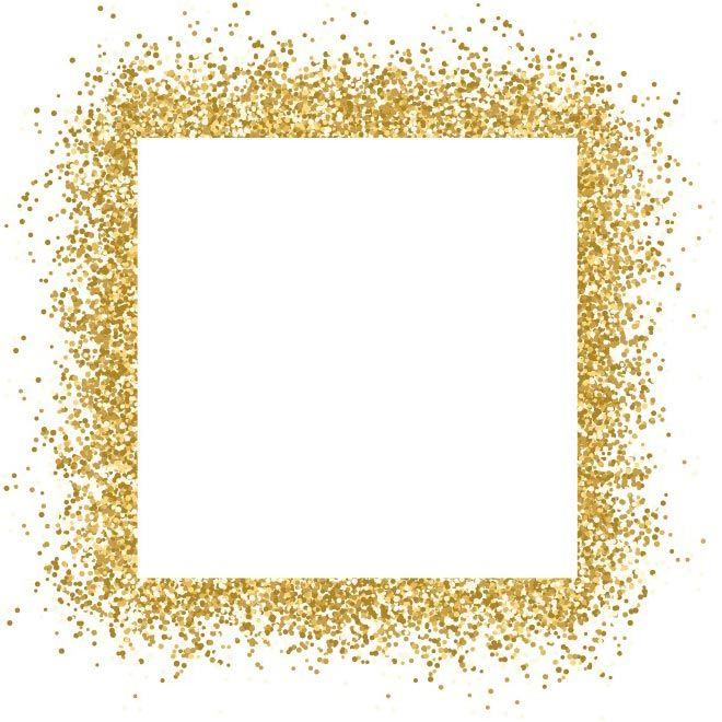 free vector Gold glitter frame sparkles on white background.