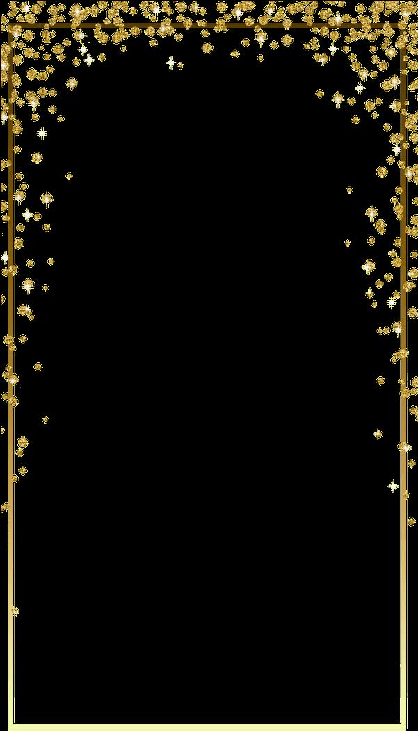 HD Gold Glitter Confetti Border Png.