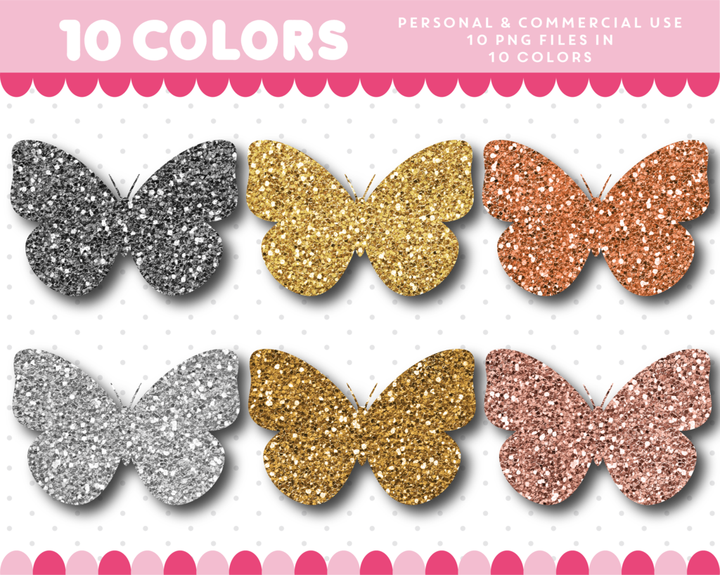 Butterfly clipart in gold and silver glitter, Glitter.