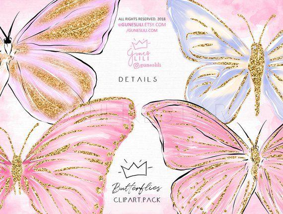 Butterfly Clipart — Fairy Clipart — Digital Glitter.