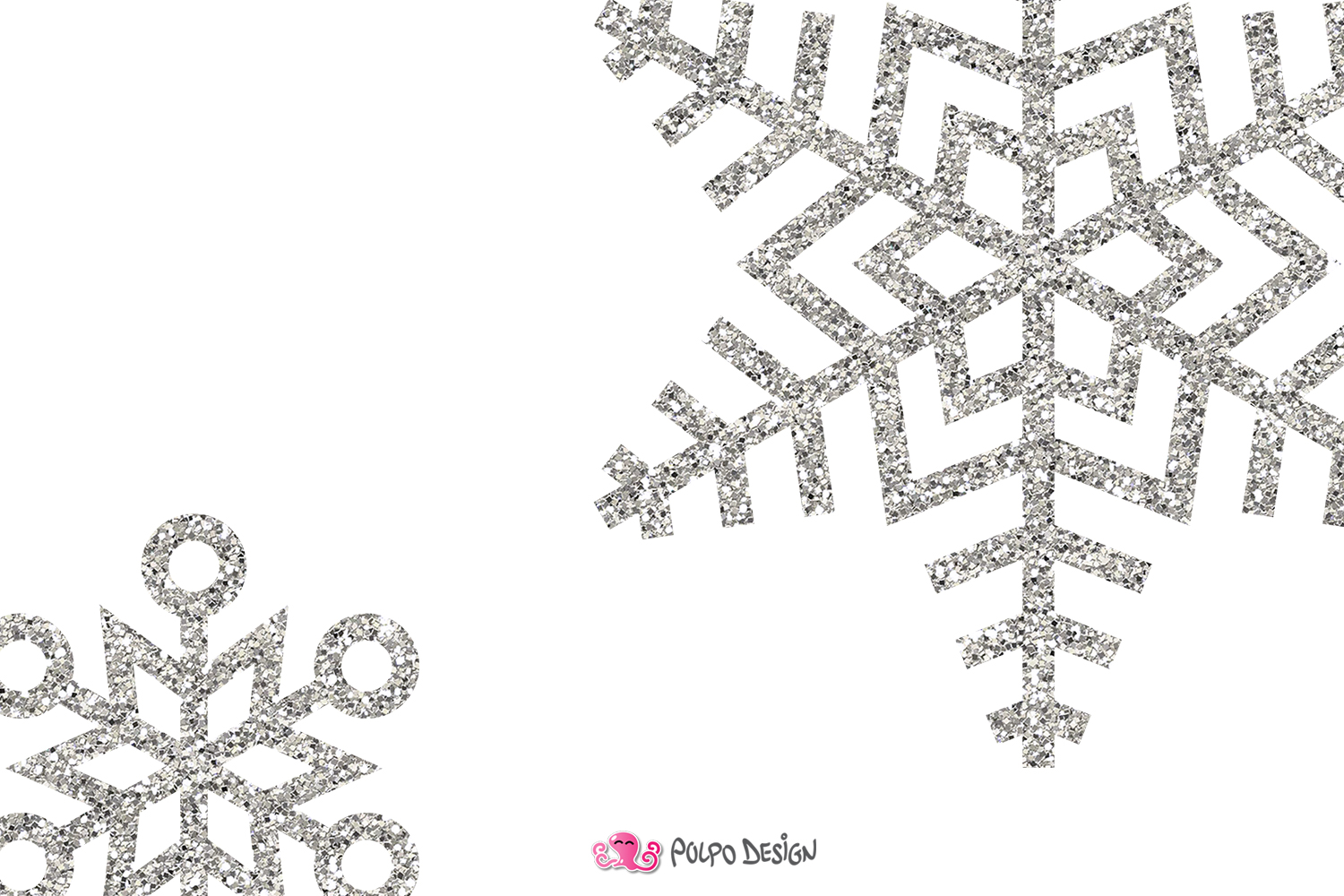 Silver Glitter Snowflakes clipart.