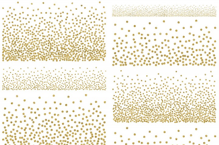 Gold glitter confetti clipart by PeDeDesigns.