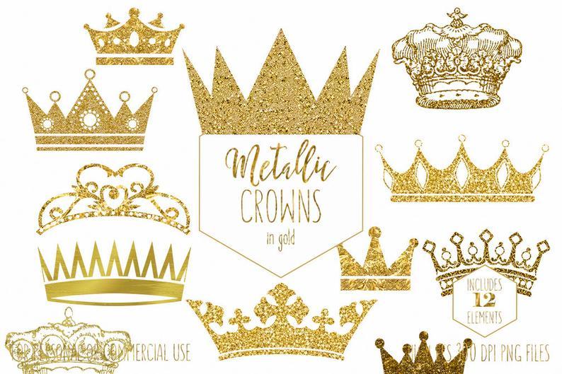 GOLD CROWN CLIPART Commercial Use Clip Art Antique Vintage Crowns Metallic  Gold Glitter & Foil Princess Prince King Queen Digital Graphics.