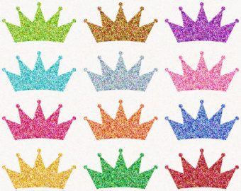 Digital Glitter Crown Clip Art, Princess Crown Clipart, Sparkly.