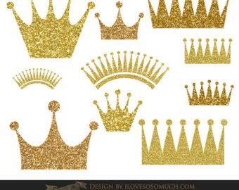 Crown Clip Art, gold crowns clipart, sparkly digital crown, princess.