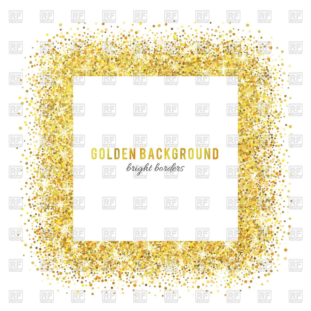 Gold glitter frame Stock Vector Image.