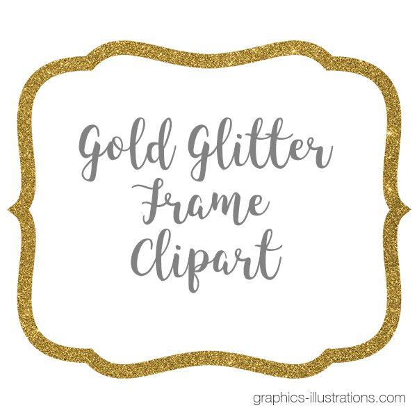 Gold Glitter Frame Clipart.