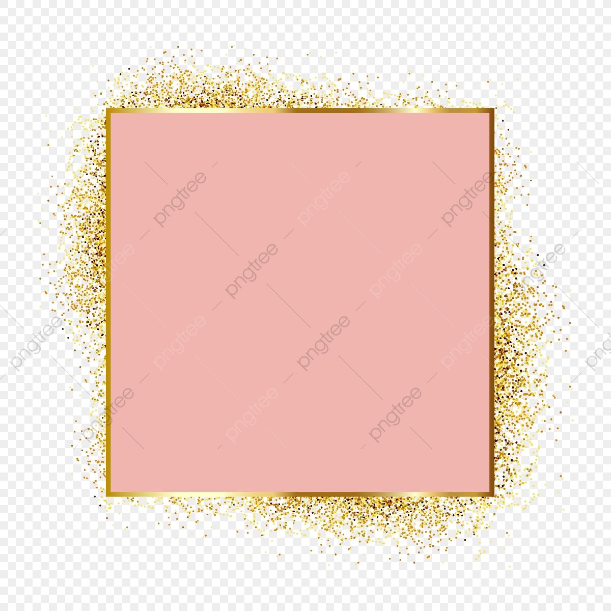 Rose Gold Metal Particles Glitter Frame, Framing Elements, Elegant.